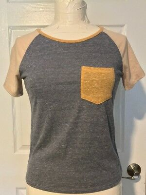 Blue - Beige Pocketed T-Shirt By Wet Seal