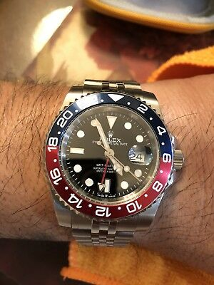 Gmt Mater 2 Watch In Steel With Pepsi Bezel 40mm