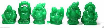 Set of 6 JADE COLOR Feng Shui Laughing HAPPY Buddha Figures - Statue Luck
