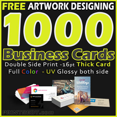 1000 FULL COLOR BUSINESS CARDS-2 SIDE PRINTING-UV COATED FREE SHIP - DESIGN
