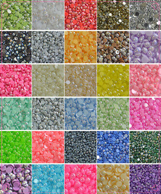 2-8mm AB color Half Pearl Round Bead Flat Back Scrapbook for Craft FlatBack 03