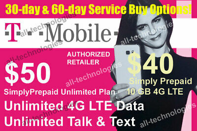 1st - 2nd Month Preloaded T-Mobile 50 Unlimited 4G - 40 10GB SIM Cards