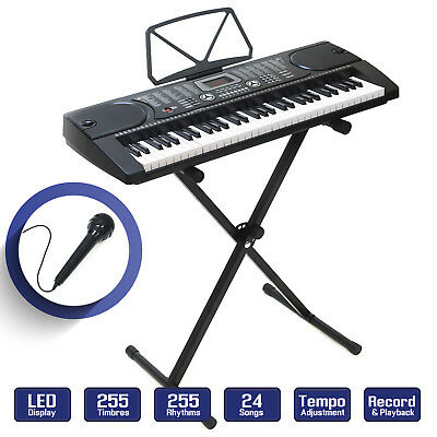 Digital Piano Keyboard 61 Key - Portable Electronic Instrument with Stand