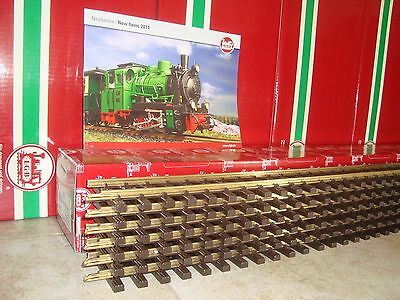 LGB 10610 BRASS 4 FT STRAIGHT TRACK BOX OF 6 PCS NEW - FREE 2014 FLYER INCLUDED