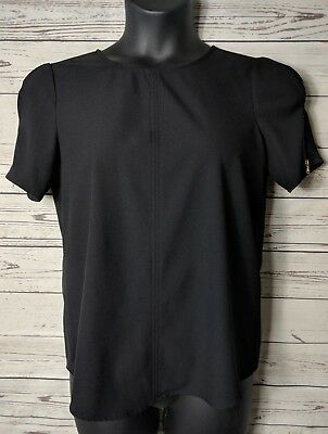 Zara Basic Womens Top L Large Black Career Puff Short Sleeve Blouse Gold Zip
