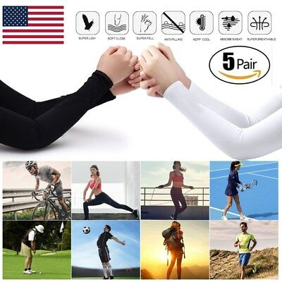 5 pairs 10 pieces Cooling Arm Sleeves Cover UV Sun Protection Basketball Sport