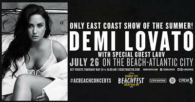 Demi Lovato Atlantic City 2 General Admission Tickets Beach AC Thursday 72618