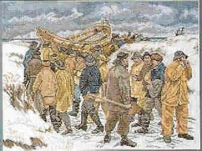 Fishermen On Beach-Michael Ancher by Permin Counted Cross-stitch Pattern