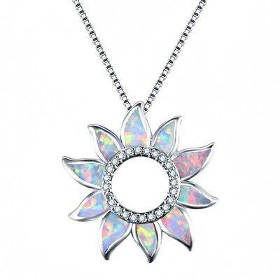 Women Sun flower opal silver Pendant Chain Necklace Mother Mothers Day Gift New