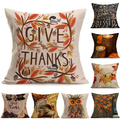 Happy Fall Thanksgiving Day Cotton Linen Pillow Case Cushion Cover Home Decor