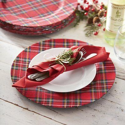 Mud Pie Deck The Halls Red Tartan Plaid Charger Plates 13 Diameter Set of 4