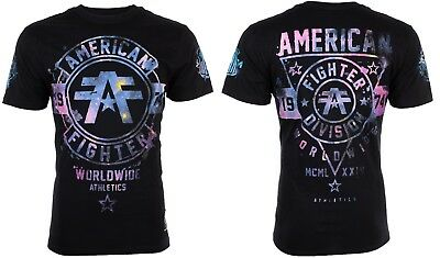 AMERICAN FIGHTER Men T-Shirt SILVER LAKE GALAXY Athletic BLACK Biker Gym UFC 40