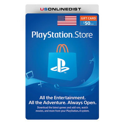 Sony Playstation Network 50 USD Card - PSN 50 Dollar - PS4 PS3 PSP USA Only