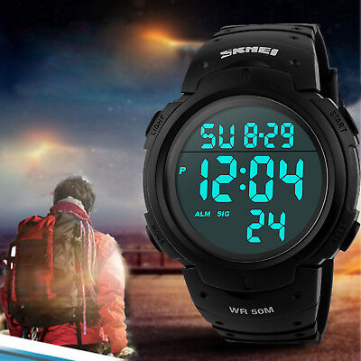 Mens Digital Sports Watch LED Screen Large Face Military Waterproof Watches