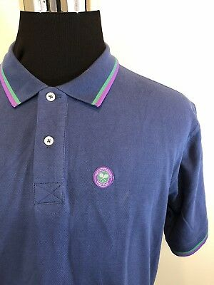 Vintage Wimbledon All England Lawn Tennis Navy Polo Shirt Size Large