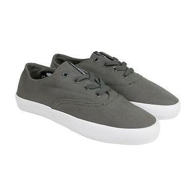 Supra Wrap Mens Grey Canvas Lace Up Sneakers Shoes 7