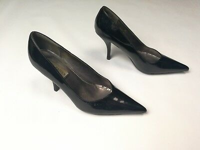 Steve Madden Dixie black pointed toe leather pumps stacked heel womens 7M s