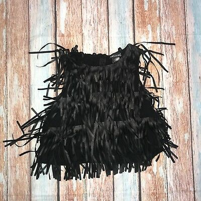 Wet Seal Size S Faux Leather Fringe Crop Top Sleeveless Black Club Dance Party