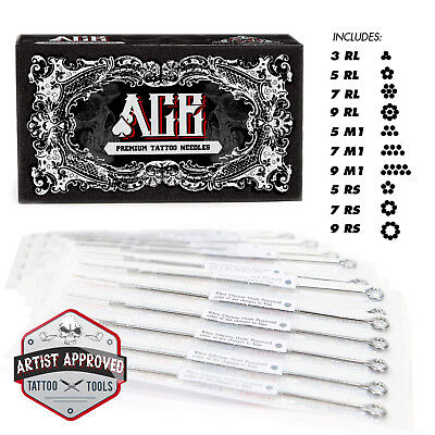50 Mixed Assorted Tattoo Needles 10 Sizes - Round Liner Shader Magnum 3 5 7 9 RS