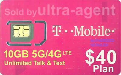 Preloaded T-Mobile SIM Card with Prepaid Plan 50 10GB 4G LTE  30 Days