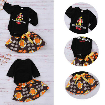Baby Girl Thanksgiving Romper Skirt Dress Outfit Set Clothes Newborn Toddler Set