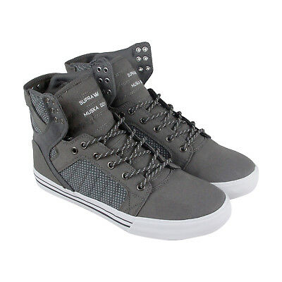 Supra Skytop Mens Gray Canvas High Top Lace Up Sneakers Shoes