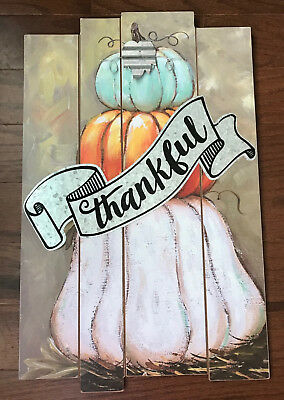 THANKFUL THANKSGIVING FALL HARVEST STACKED PUMPKIN WOODEN WALL PLAQUE