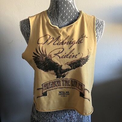 Forever 21 Womens Muscle Tank Midnight Rider Yellow Graphic Tee Size Medium