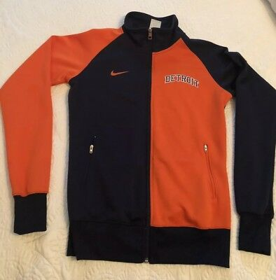 Detroit Tigers Nike Womens Track Jacket - NavyOrange Medium