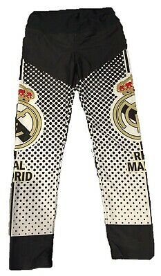 REAL MADRID Soccer Spandex Pants BLACK WHITE AND GOLD