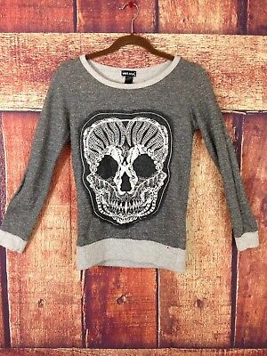 WET SEAL Skull Design Graphic Pullover sweater Size Small