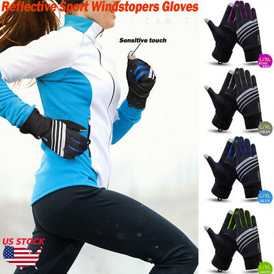 Men Women Reflective Sport Gloves Thermal Walking Sports Running Touch Screen US