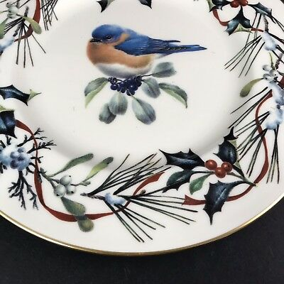 Lenox Winter Greetings China 9 Accent Plate Eastern Bluebird Christmas