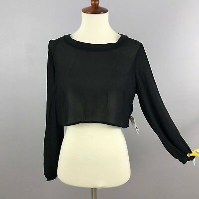 Forever 21 F21 Womens Black Sheer Crop Top Button Down Back Long Sleeve S