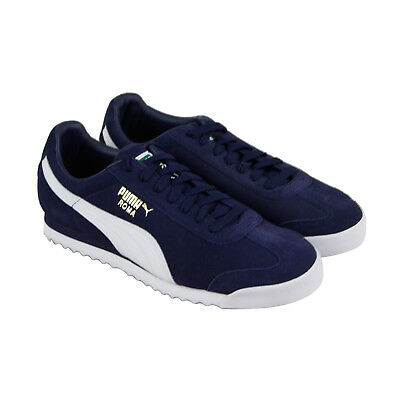 Puma Roma Suede Mens Blue Suede Lace Up Sneakers Shoes