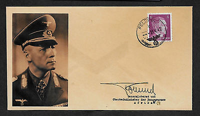 Erwin Rommel Collectors Envelope with genuine 1941 Hitler Postage Stamp A587OP