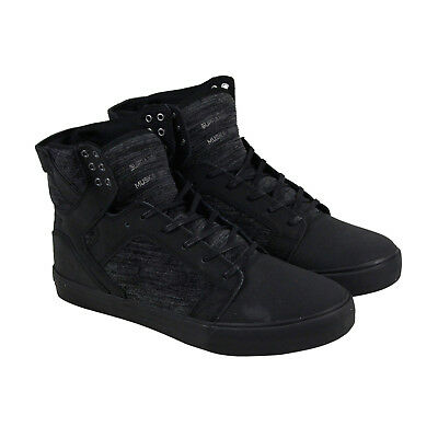 Supra Skytop Mens Black Nubuck - Textile High Top Lace Up Sneakers Shoes