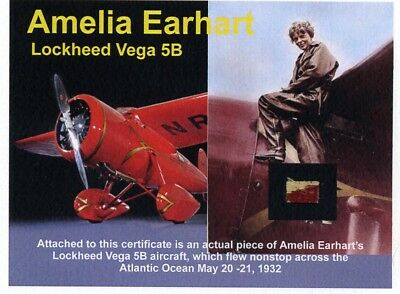 Amelia Earhart - Original Red Fabric From Her Vega 5B Airplane - Smaller Piece