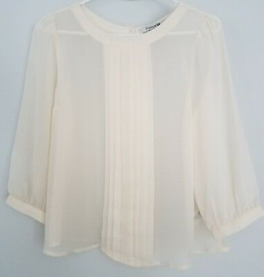 NEW Forever 21 Cream Pleated Blouse Button Down Back Semi Sheer Size Medium