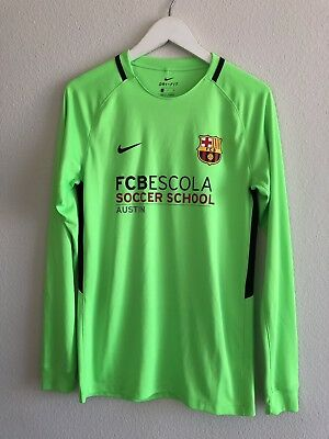 GAME USED FC Barcelona Training Academy School LS Soccer Jersey Mens Small