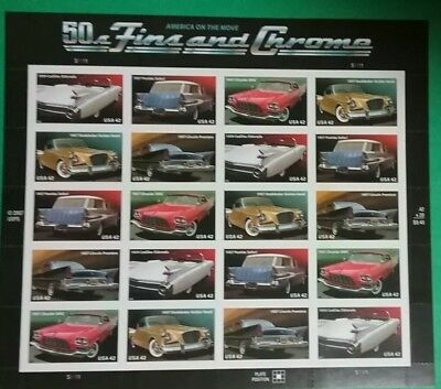 USA Scott 4353-57 4357a 50s Fins and Chrome - Mint Sheet of 2042c Stamps