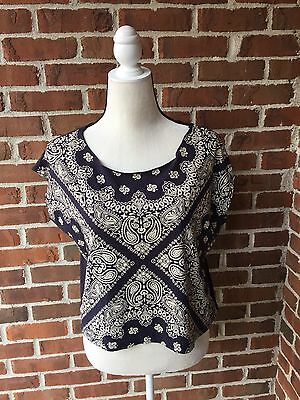Forever 21 Bandana Navy Blue Cotton Top NWT Sz S