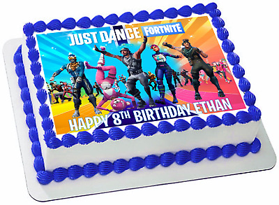 Fortnite Dancers Personalized Edible Rectangle Cake Topper  Decoration