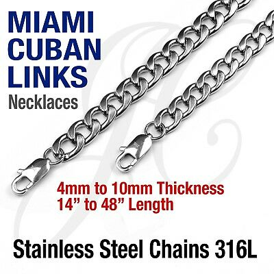Stainless Steel 316L Miami Cuban Curb Link Chain Necklace 14-48 Silver tone