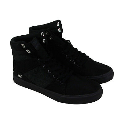 Supra Aluminum Mens Black Textile High Top Lace Up Sneakers Shoes