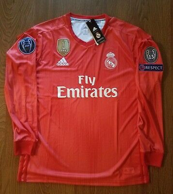 Real Madrid 201819 Third Red Long Sleeve Jersey Champions League