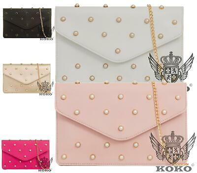 WOMENS PEARLS FLAT ENVELOPE FAUX LEATHER GOLD CHAIN PARTY EVENING CLUTCH BAG