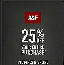 Abercrombie code 25  off purchase at 75 or more
