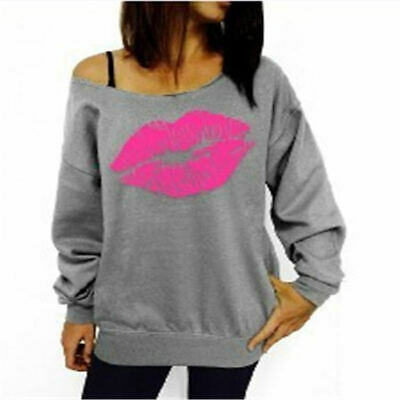Womens Long Sleeve T Shirt Tops One Shoulder Big Lips Printed Loose Sexy Blouse