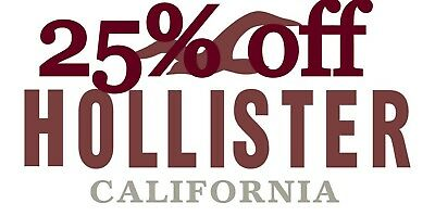 25 HOLLISTER Coupon code 25 exp 83019 Valid Clearance Sale
